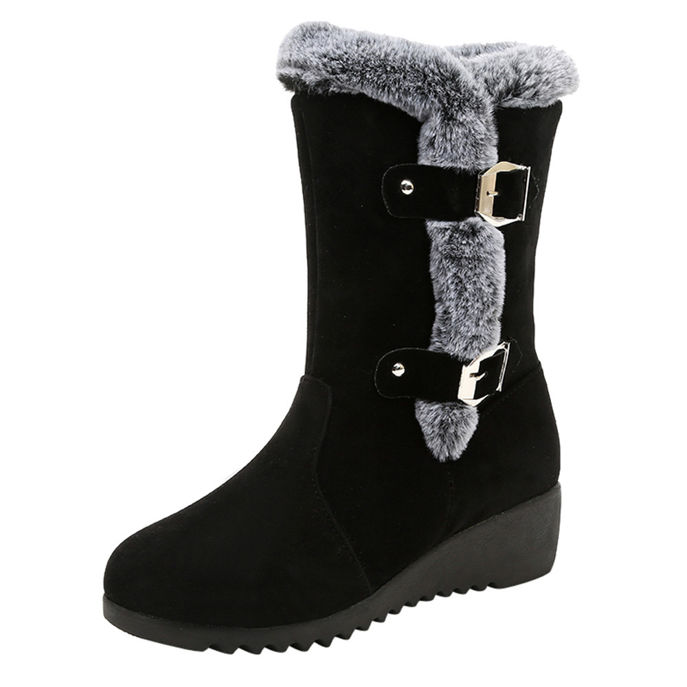 Brave Women Snow Boots Suede Solid Color Round Toe Wedges Shoes Keep Warm Buckle Strap Snow Boots Women Casual Shoes #445