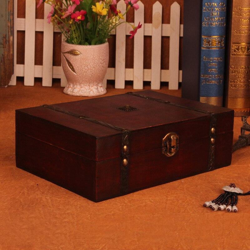 Kotak Vintage Bergaya Kotak kayu kotak dengan Lock Barang Kemas - Organisasi dan penyimpanan di dalam rumah - Foto 2