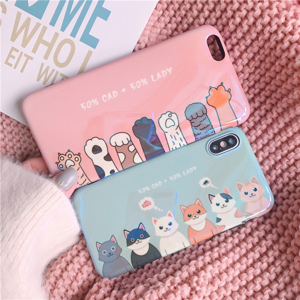 Korea Japan Pretty girl Cute Cat Claw <font><b>Blu-ray</b></font> candy soft case for iphone 6 6s 7 <font><b>8</b></font> plus X cover for Samsung Galaxy S8 S9 note <font><b>8</b></font>