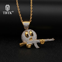 TBTK Angry Emoji Face With Gun Pendant Copper With Crystal Zircon Beautiful Funny Pendant Necklace for Man Fashion Jewelry