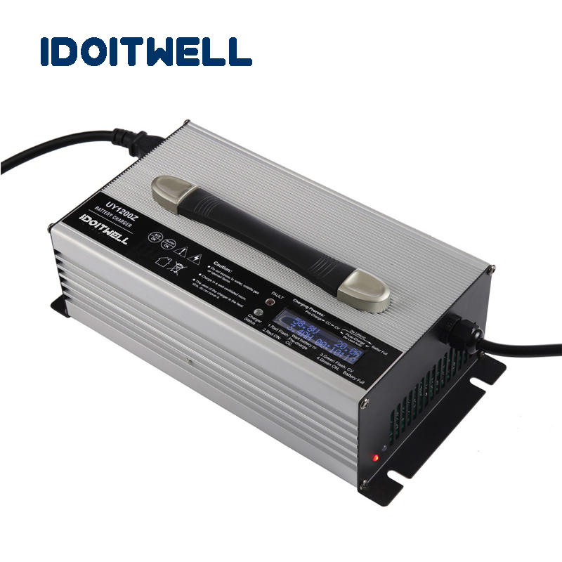 Customized 1200W Intelligent automatic battery charger 72V 12A 4 stage with LCD display for lithium lifepo4 lead acid battery