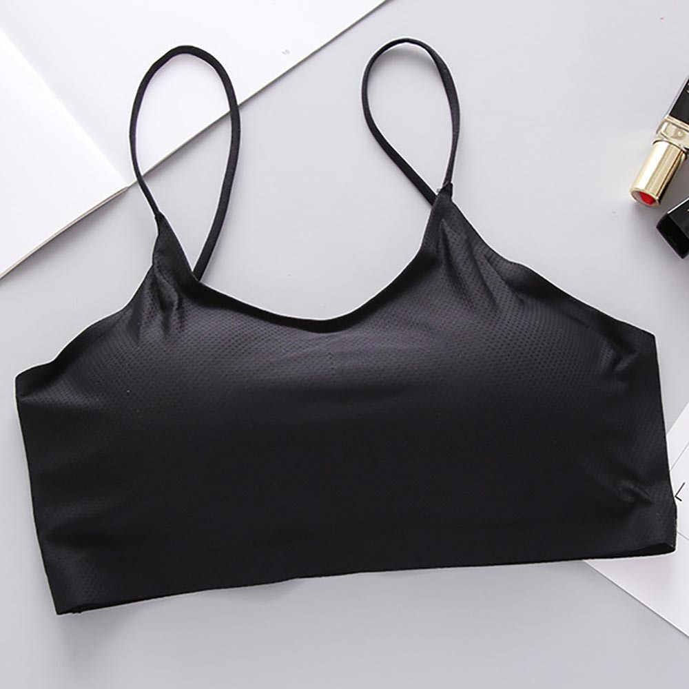Sexy Gathered Tube Top Fashion Women  Camisole Tops Ice Silk Top Vest Breathable Chest Pad Wearing Sports Underwear Wrap