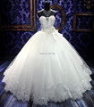 2017 High Quality Beaded Wedding Dresses AppliqueTulle Back Bandage White Ball Gowns Wedding Gowns