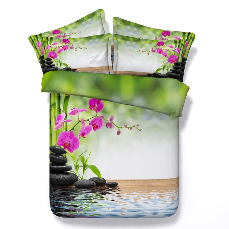 Vivid 3d Print Bedding Green Bamboo Orchid Flower Streams