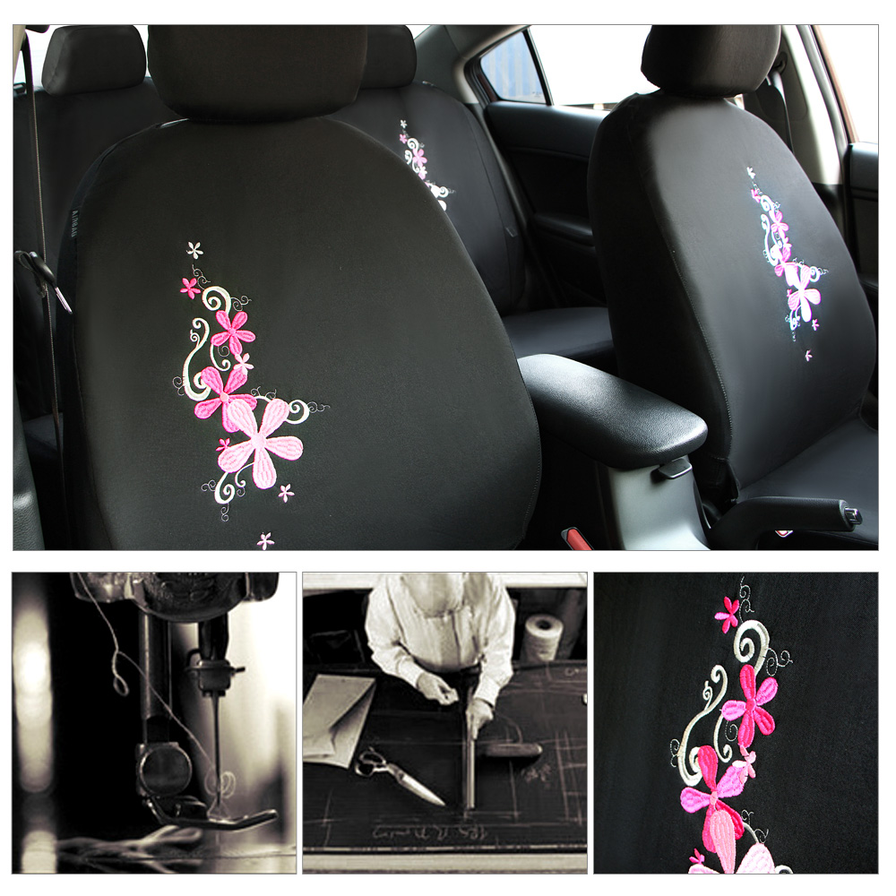 Flower embroidery pink car seat covers for front seat only universal flower embroidery pink car seat covers for front seat only universal fit car seat protector interior auto accessories for women in automobiles seat covers mightylinksfo