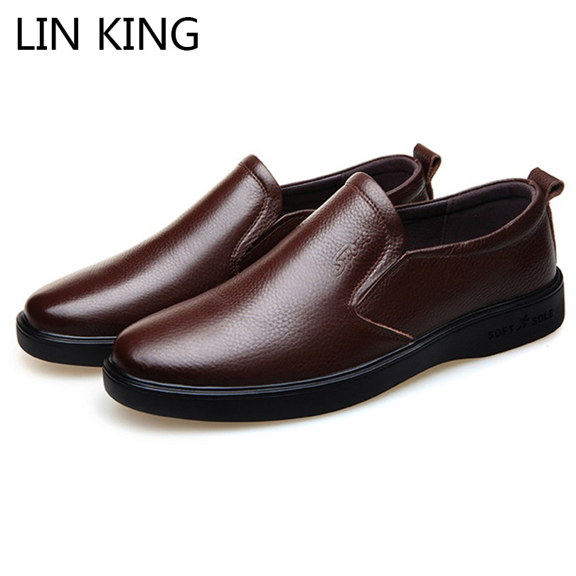 LIN KING New Fashion Men Casual Shoes Genuine Leather Business Dress Shoes Solid Shallow Slip On Loafers Formal Shoes For Male