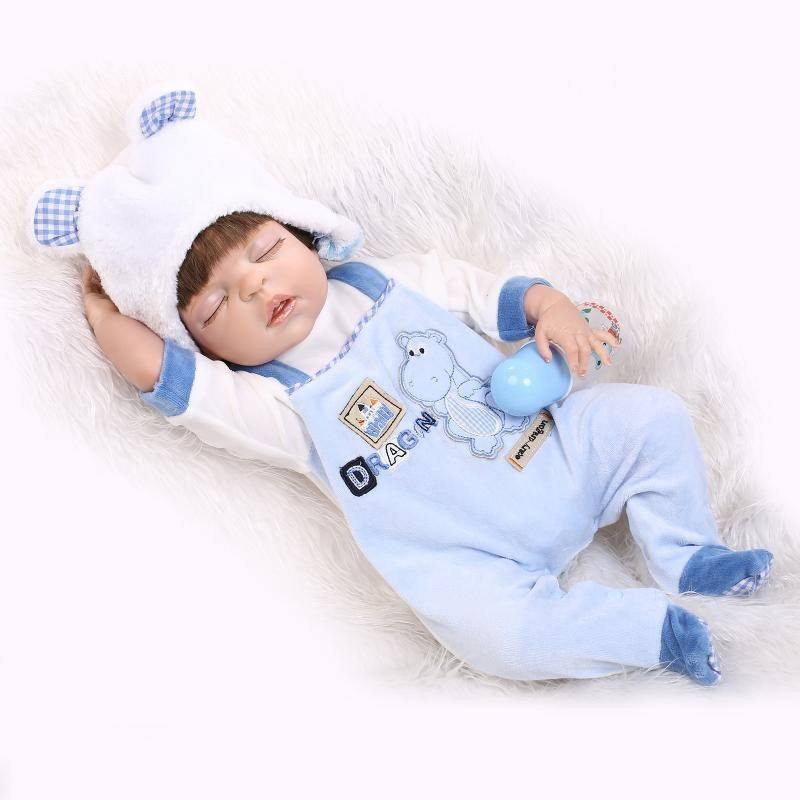 22 Soft Blue Bathed Baby Doll Lifelike Cute Boy Bebe Doll Collectible Full Vinyl Reborn Dolls with Hand Rooted Silky Hair
