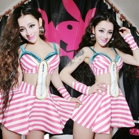Women Pink dress Large Stretch Fashion One-piece dress Female Singer DJ Jazz Stage Wear Costume Performance
