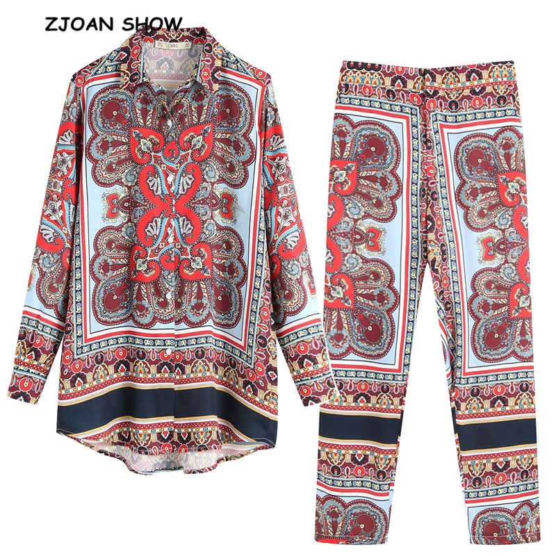 2019 New Red Paisley Floral Print Shirt High Waist Small Straight Pants Women Long Sleeve Pullover Blouse Tops 2 Pieces Set