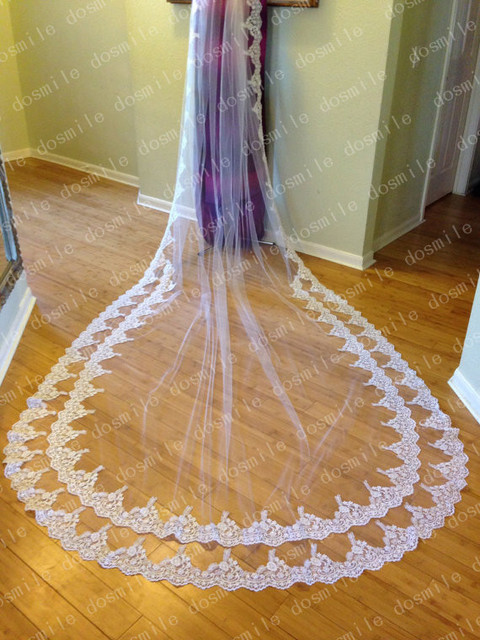 New Arrival 300 cm Free Comb two rows of Lace Bridal Wedding Veils  Cathedral Mantilla White  Long Veu De Noiva Birdcage Longo