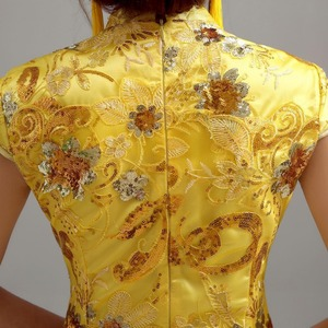Image 2 - traditional chinese clothing for wedding cheongsam dress in sequin qipao women dresses chinese traditional dress custom yellow