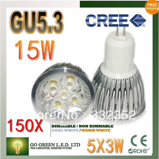 Free shipping 150XHigh-power CREE led bulb GU5.3 12W 15W AC85-265V Dimmable Warm/Pure/Cool white led Spotlight led lamp led