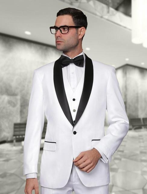 2018 New Arrival White Tuxedos Men Wedding Suits Jacket Pants Tie Vest