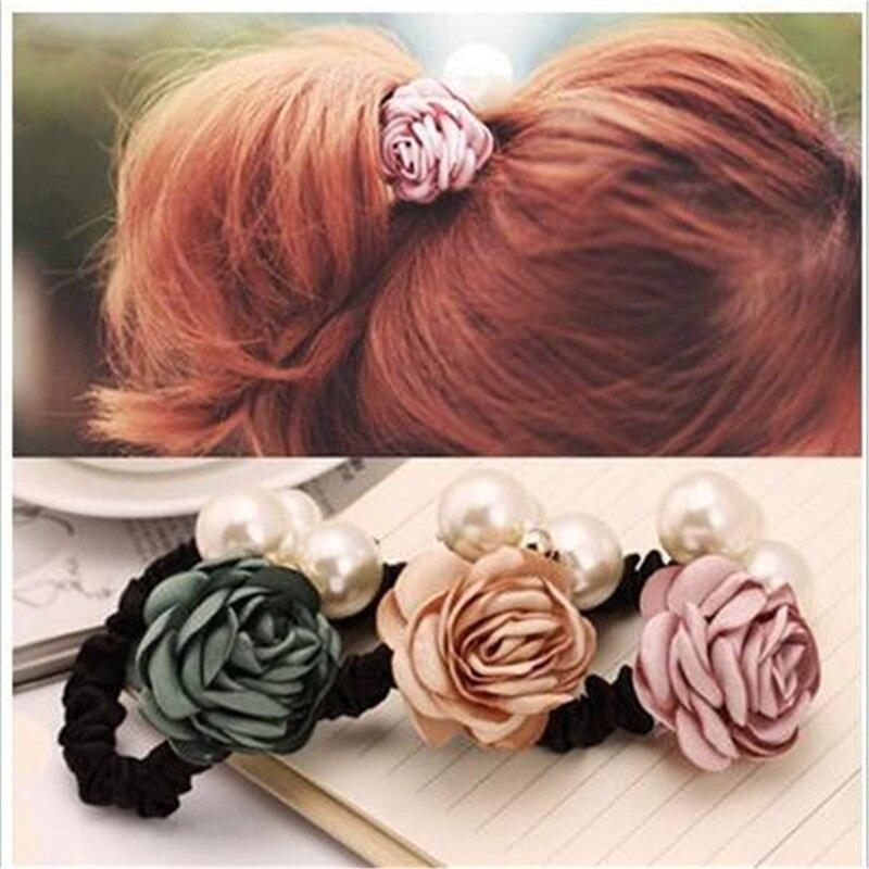 Bandeaux de cheveux élastiques à la mode   Bandeau de fleur de perle, accessoires solides, ornements de nœud en plastique pour femmes et filles, accessoire de bijoux