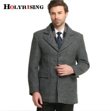 Herbst Winter Casual Männer Wolle Mäntel Dicke Warme Jacken Single Button Outwear Herren Jacken Und Mäntel Solide Kaffee Grau M-3XL(China)