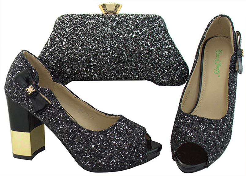 Black Pumps Peep Toe Shoes Medium Heel With Small Clutches -3608