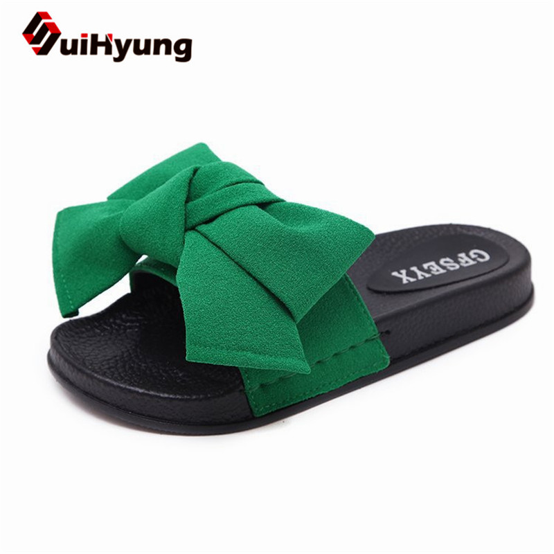 069fa8550 Suihyung New Women Summer Slippers Fashion Design Leather Flip Flops With  Bow-knot Soft Bottom Laides Casual Sandals Flats 35-44