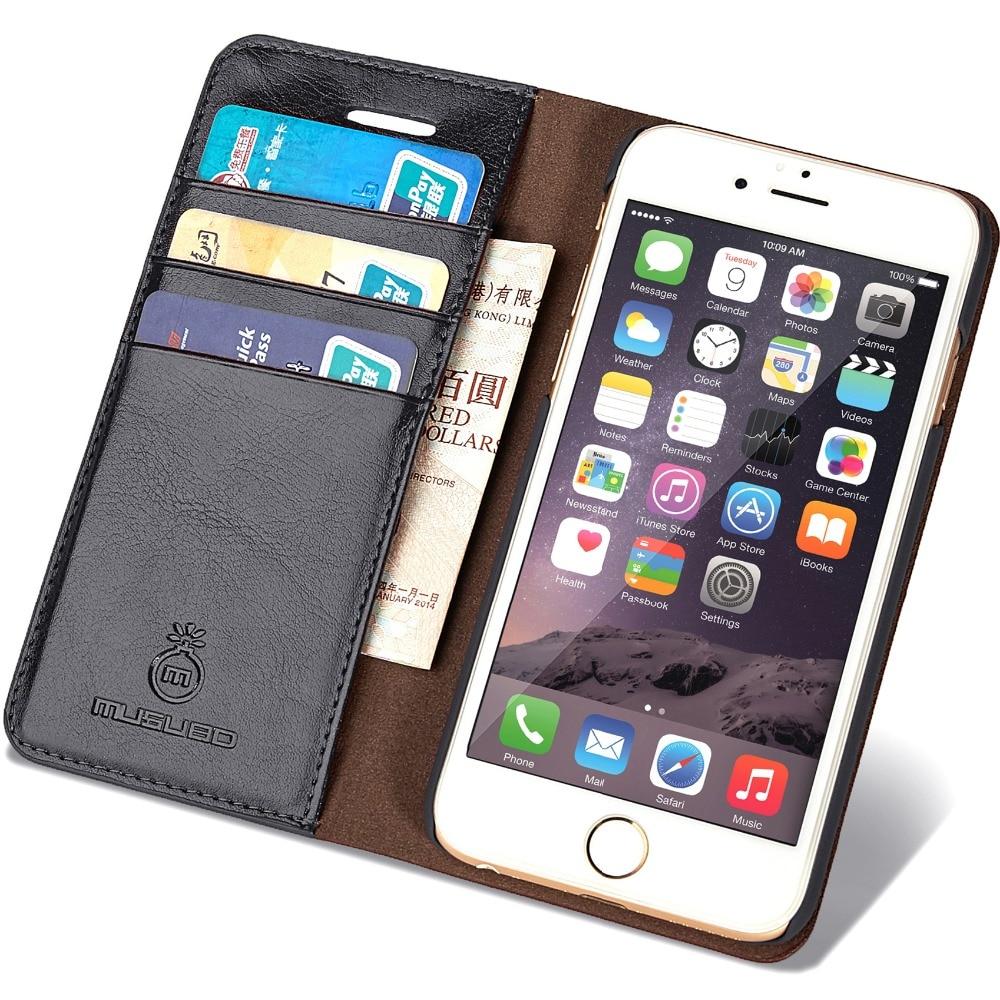 imágenes para Original Musubo Caso de la Marca Para el iphone 6 de Lujo del Cuero Genuino monedero bolsa Cubierta del teléfono para el iphone de Apple 6 s casos flip Coque