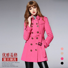 BURDULLY Brand new autumn and winter 2017 women cotton lapel grid jacket With Belt Slim and long sections coat female coat