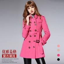 BURDULLY Brand new осенью и зимой 2017 женщин хлопка лацкан сетка куртка С Поясом Тонкий и длинный разделы пальто женщина пальто
