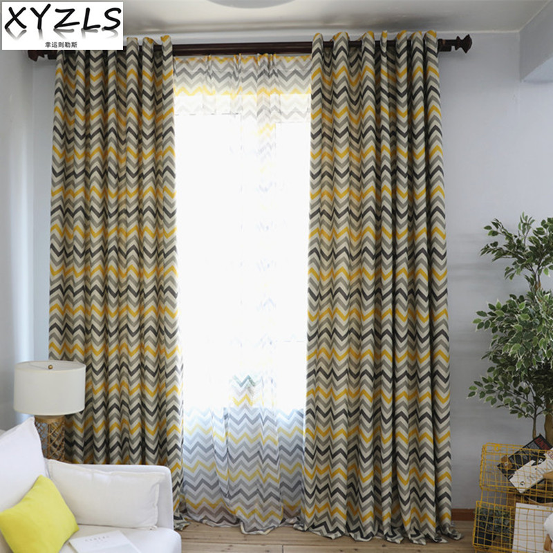 XYZLS New Simple Striped Wave Cortinas Kitchen Sheer Tulle Curtain Blinds Shade Blackout Curtains for Living Bedroom Window
