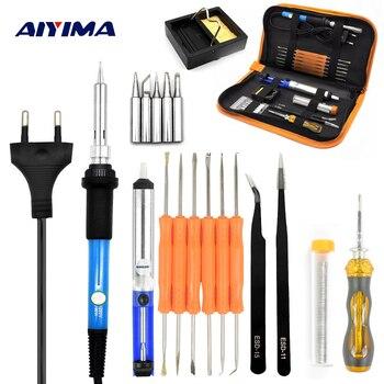 Aiyima 220 V 60 W อุณหภูมิปรับไฟฟ้า Soldering Iron gun แบบพกพาเชื่อมซ่อมเครื่องมือไขควง EU Plug DIY ชุด