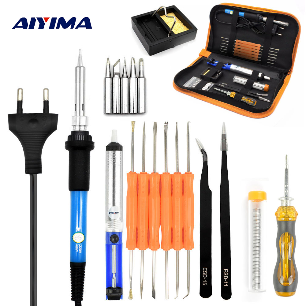 Aiyima 220V 60W Adjustable Temperature Electric Soldering Iron gun Portable Welding Repair Tool Screwdriver EU Plug DIY kits 220v 35w eu plug constant temperature 180c degree mini diy use electric iron 10x6x7cm