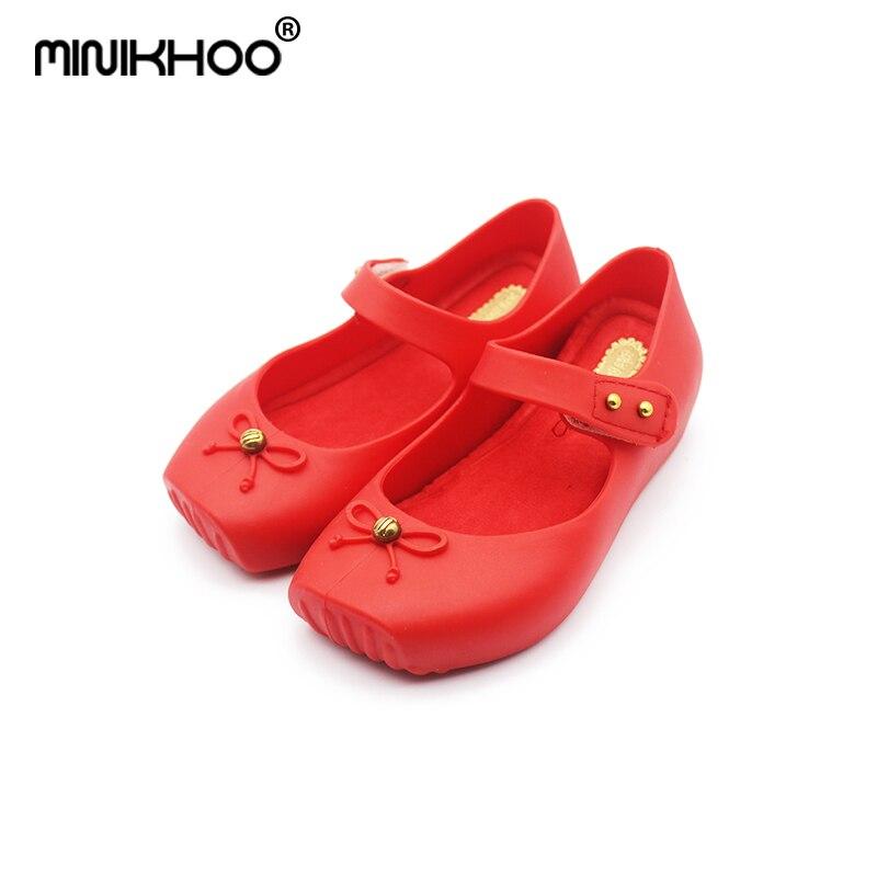 Mini Melissa 2017 Ballet Shoes Girls Jelly Shoes Bow Ballet Shoes Soft Comfort 3 Color High Quality Melissa Children Sandals