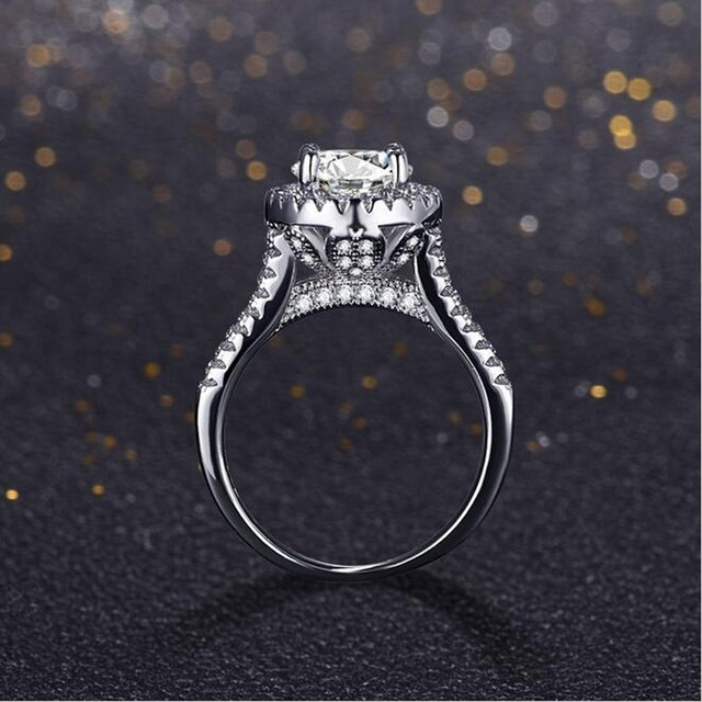 YHAMNI Genuine Real Solid 925 Sterling Silver Rings Cubic Zirconia 1 Carat SONA CZ Diamond Wedding Jewelry Rings for Women LR007