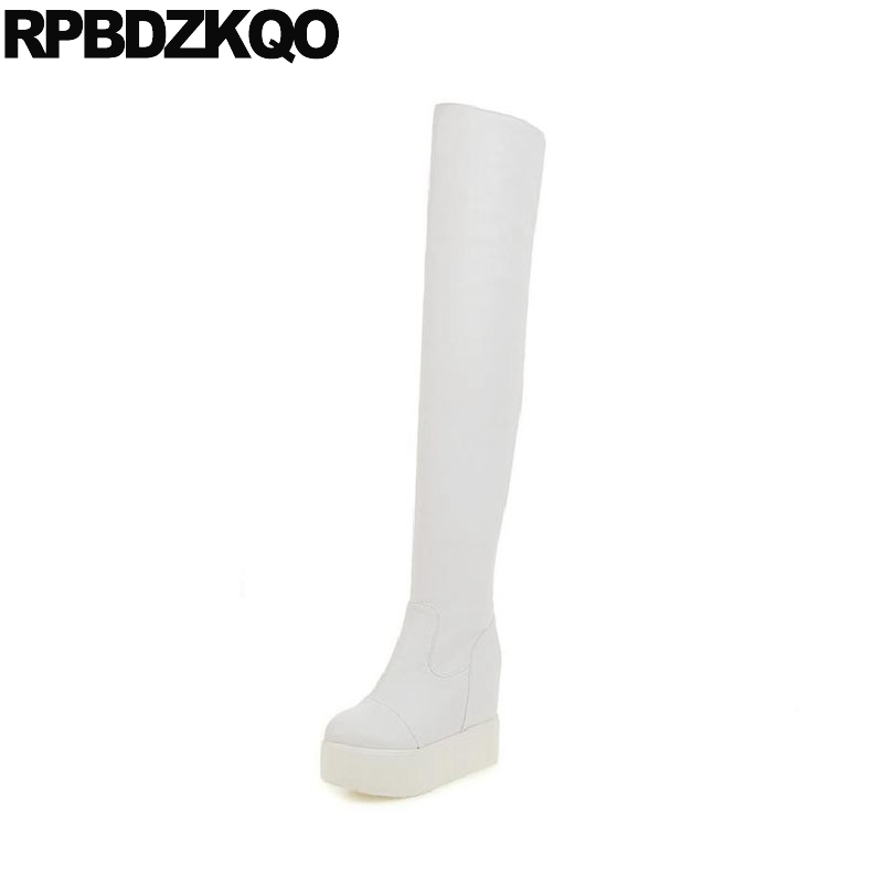 Dance Over The Knee Extreme 10 Height Increased Stretch White Platform Boots Ladies Big Size Fetish High New Female Long Fashion