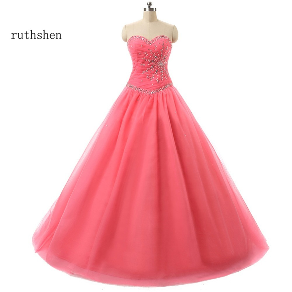 657a5c594f5 ruthshen Quinceanera Dresses Coral Sweetheart Beaded Ruched Tulle Mint  Green   Light Blue Sweet 16 Masquerade