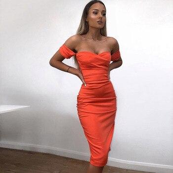 49df7bb7a8f Date Party Celebrity robe moulante Femmes Orange courtes manches De  L épaule Chaude Sexy Soirée Club robe pour femmes Robes