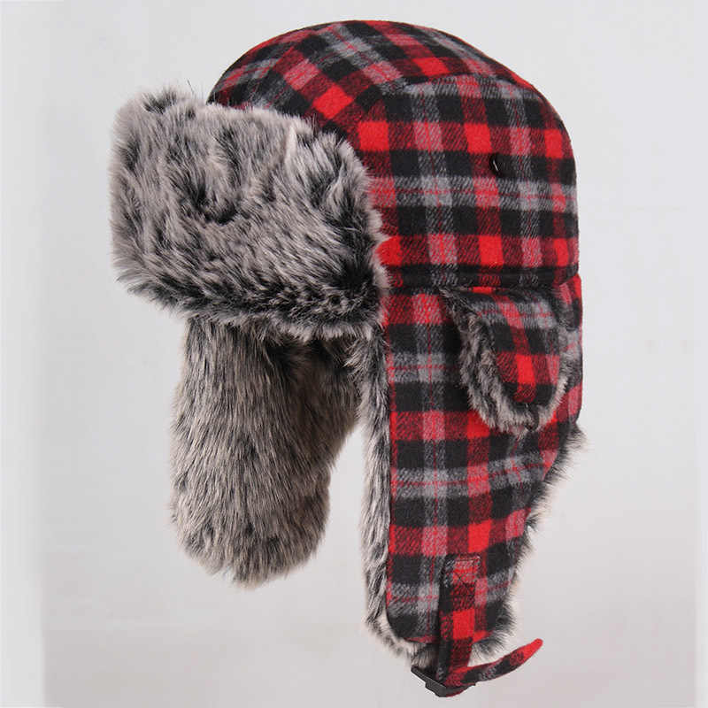 e8e8a10ceb99c Hot Sale Russian Hat Ushanka Fur Mens Winter Hats Ear Flaps Sports Snow  Outdoor Cap Winter