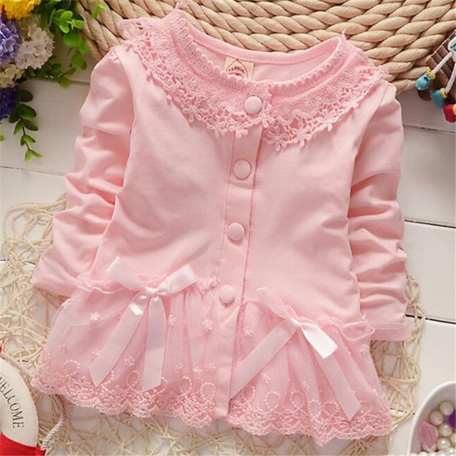 Fast Shipping High Quality Children Clothing 2016 Korean Cute Lace Gauze Baby Sweatshirts outwear Kid Clothes Autumn&spring