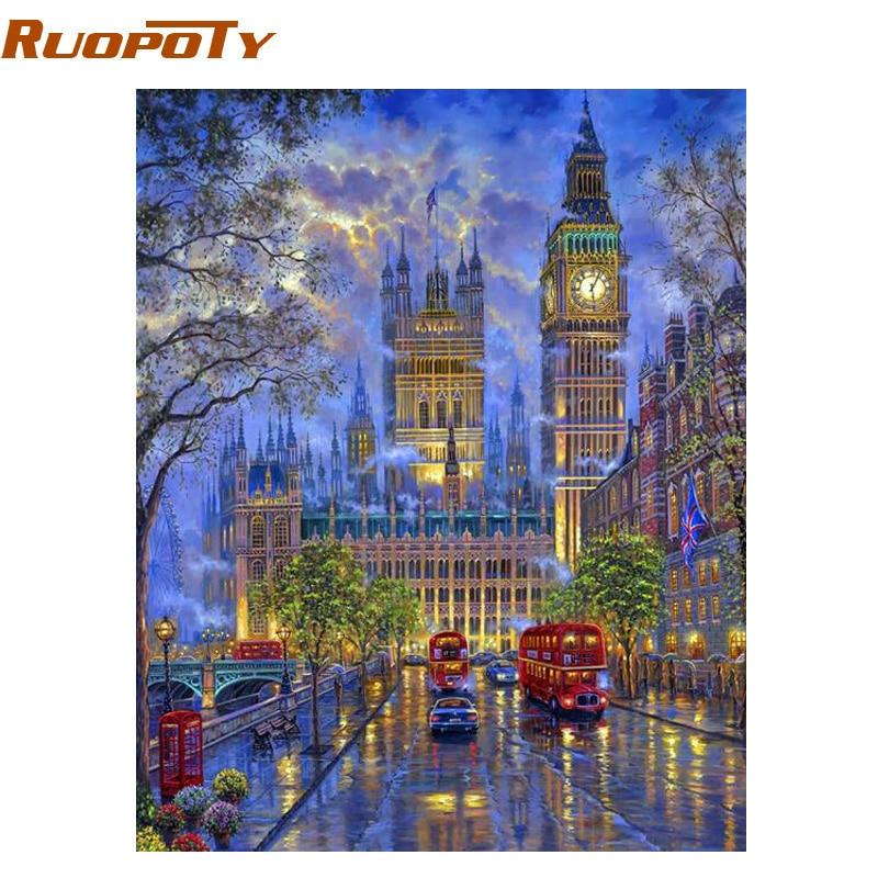 RUOPOTY Rahmen Stadt Nacht DIY Malerei Durch Zahlen Moderne Home Kunst Acrylfarbe Auf Leinwand Hand Gemalt Öl Malerei 40x50 cm