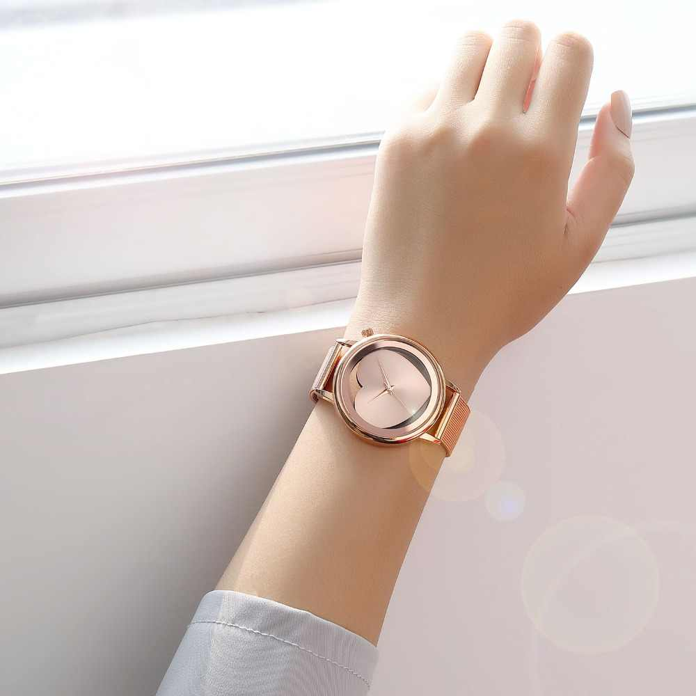 נשים שעונים קוורץ הולו אנלוגי להקת רשת נירוסטה רוז זהב יוקרה מותג עיצוב שעוני יד אופנה שמלה חדש