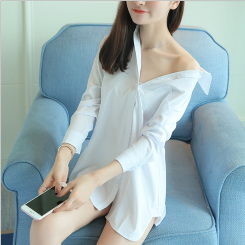 Ladies Night Dress Sexy Cotton Long Sleeve Nighties V-neck Nightgown Casual Nightdress Solid Sleepwear Nightwear For Women