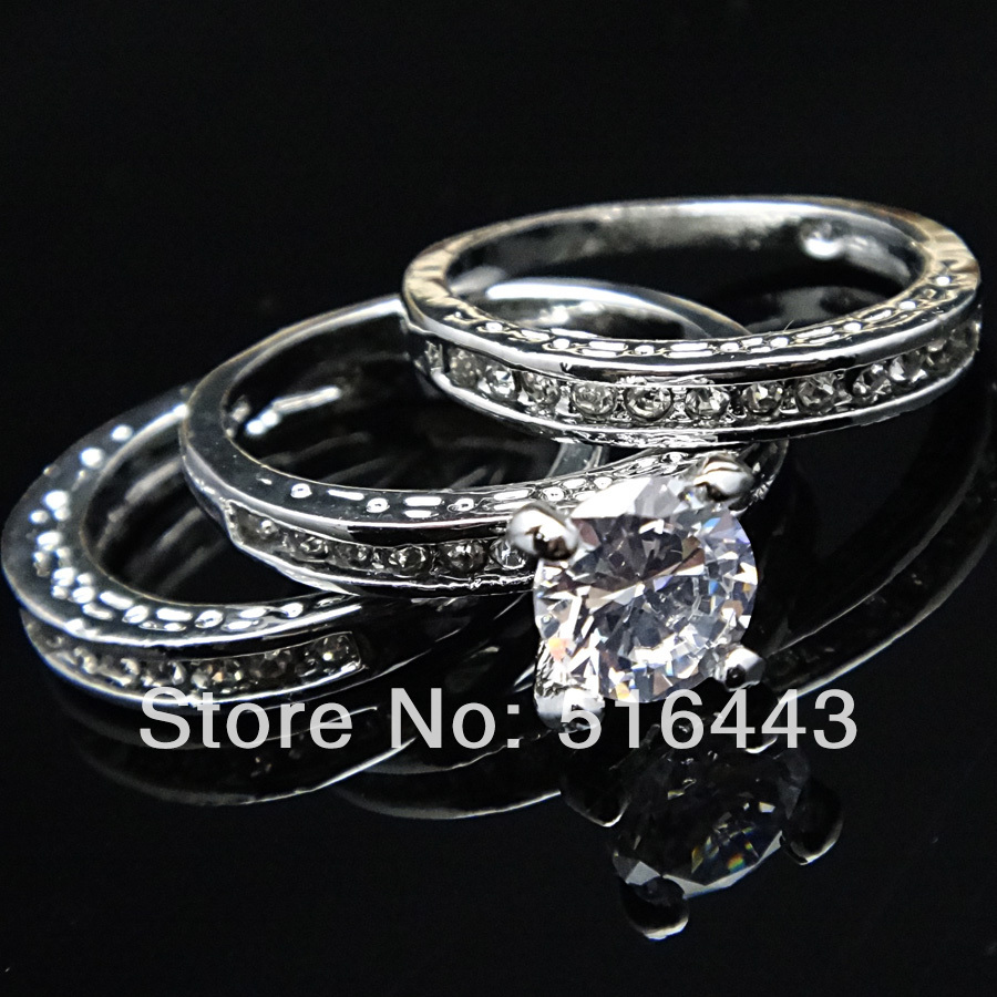 3pcs Upscale 3 In 1 Austria Crystal Cubic Zircon Silver Plated White Engagement Wedding Women