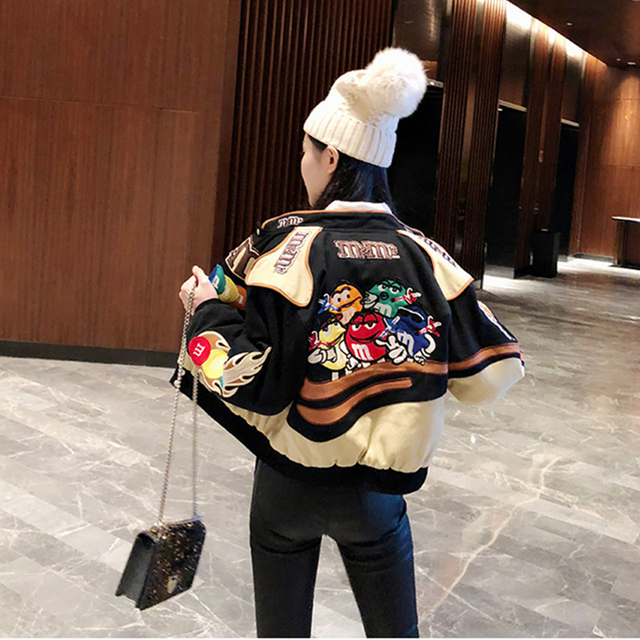 Embroidery Harajuku Patch Plus Size Coat 2021 Spring Autumn Women's Jackets Hip Hop Autumn Long Sleeve Female Jacket Outwear 3