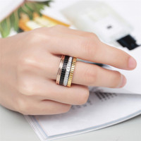 ZINDOV Luxury Brand Women Ring Stainless Steel Rose Gold Black Silver Gold Zirconia Jewelry Men Wedding Finger Rings For Women