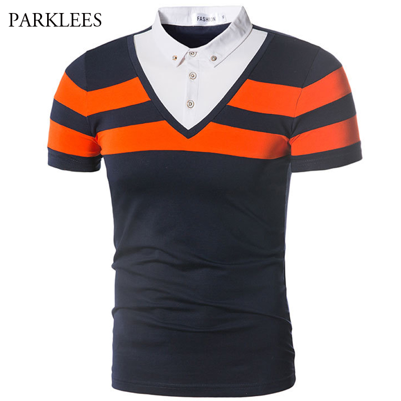 Striped   Polo   Shirt Men 2018 Summer Fake Two Pieces Mens   Polo   Shirt Casual Slim Fit Short Sleve Cotton   Polo   Homme Work Clothes