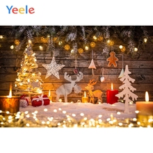 Yeele Merry Christmas Photography Backdrops Wood Board Snow Tree Gift Kids Personalized Photographic Background Photo Studio 10x20ft hand painted muslin winter scenic photo studio backdrops snow tree photographic background christmas custom service