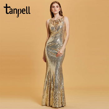 Tanpell sequins mermaid evening dress daffodil sleeveless floor length gown women scoop neck party formal long evening dresses