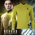 Star Trek За Капитан Кирк Сулу косплей костюм Star Trek рубашка Хеллоуин костюм star trek равномерное Кирк сулу бесплатный бейдж