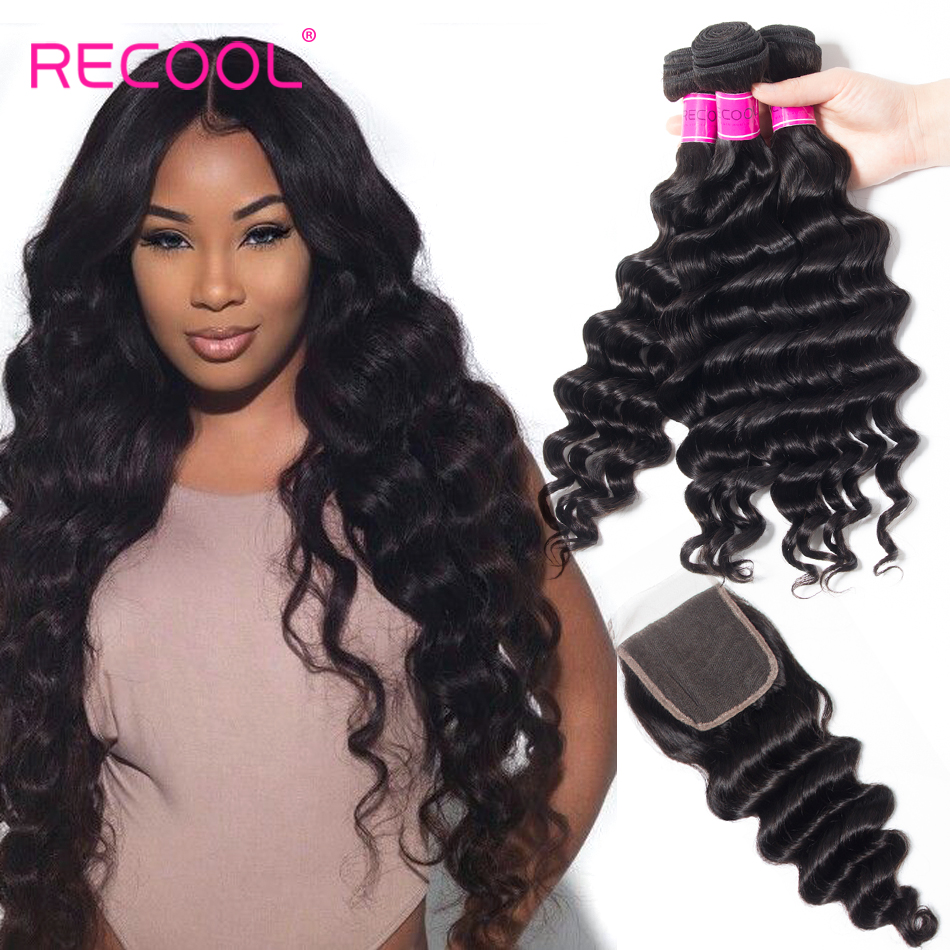 Recool Hair Loose Deep Wave Bundles With Closure Brazilian Virgin Hair Bundles With Closure Human Hair Weave Bundle With Closure(China)