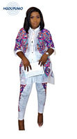 New style African Women clothing Dashiki fashion Print cloth tops coat + pants set Super size M L XL 2XL YW632