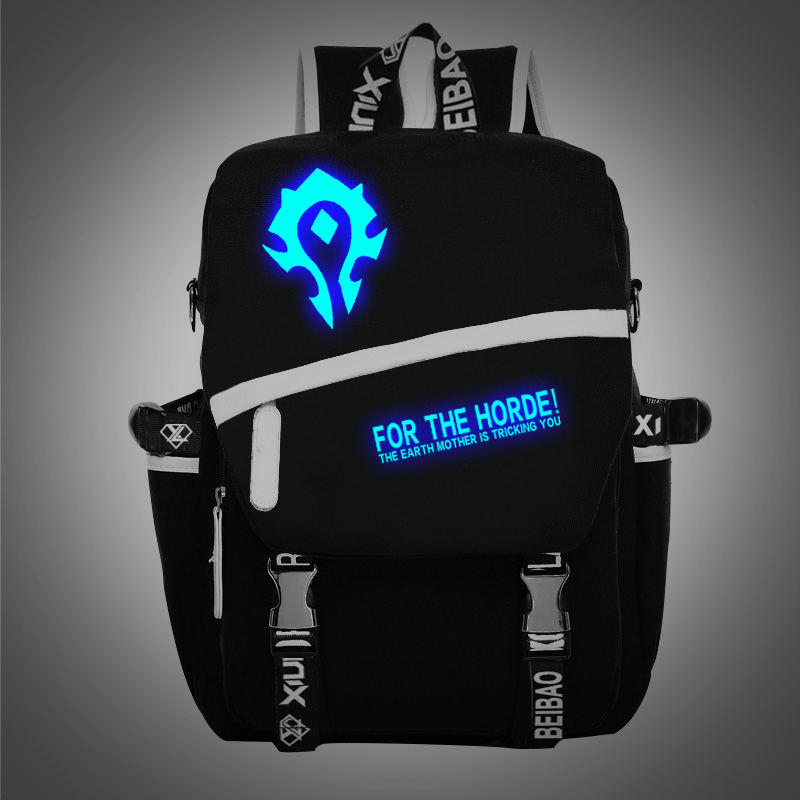 New Fashion Luminous World Of Warcraft Backpack Boy Girl School Bags For Teenagers WOW Game Daily Laptop Canvas Backpack fvip wow for the horde world of warcraft backpack school bags luminous backpacks tribe alliance nylon mochila galaxia