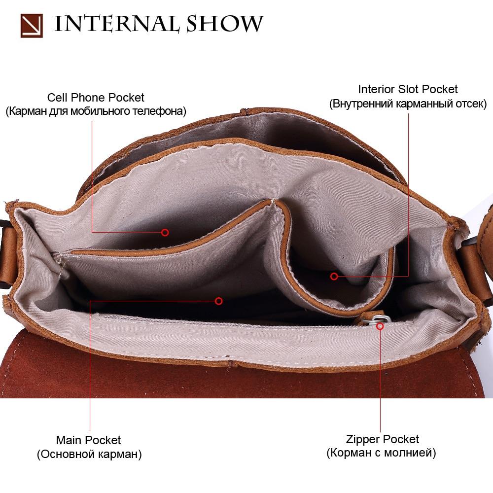 MISFITS new crazy horse genuine leather men messenger bags casual shoulder crossbody bag top brand small flap man bag handbags