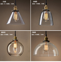 Designer Loft restaurant bar vintage pendant light, European style rural industrial creative single head glass lamps amber gray