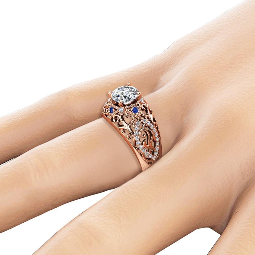 Rose Gold Close Diamond Insert Sapphire Zircon Ring for Women